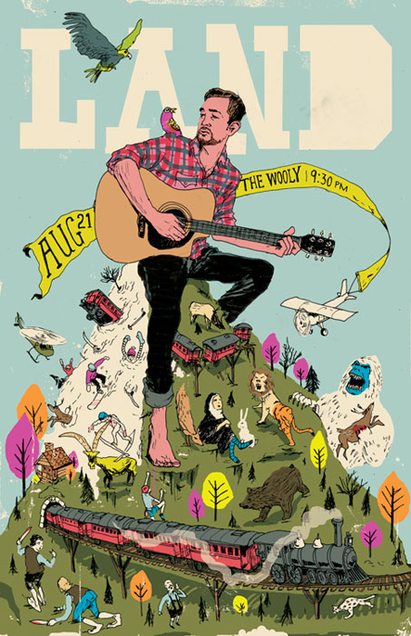 levy creative management, mike byers poster illustration, musician land, Rob Nicholls