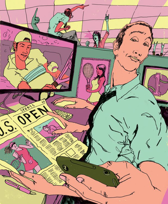 levy creative management, mike byers, tennis magazine, omnipresent open, social media, tennis, illustration