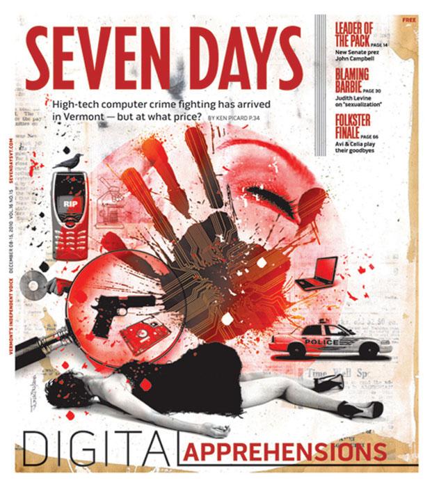 levy creative management, david junkin, crime fighting, seven days magazine, vermont, digital, collage, illustration