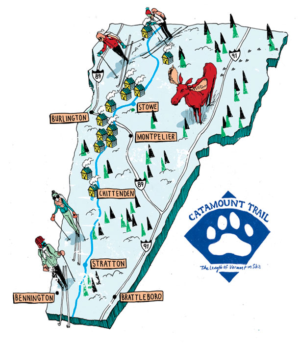 levy creative management, michael byers, catamount trail, vermont, maps, cross country skiing
