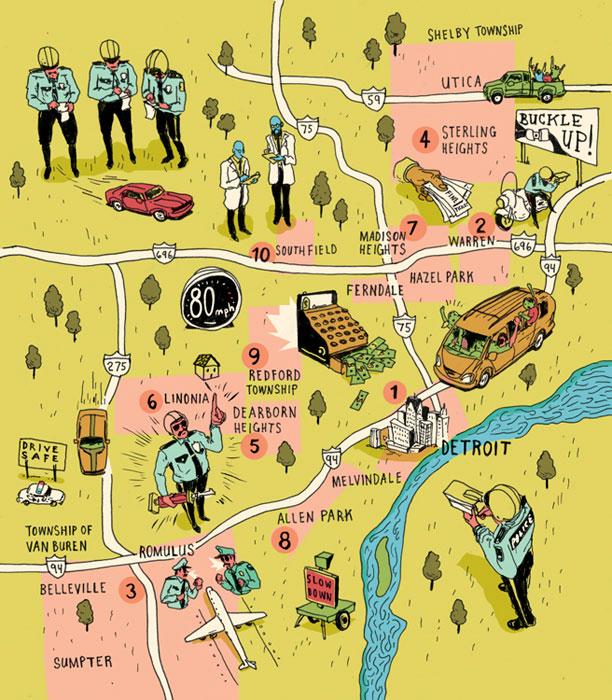 levy creative management, michael byers, detroit, maps, illustration
